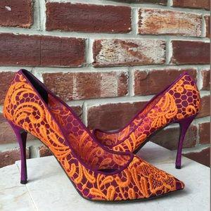 Nicholas Kirkwood Heel SZ 40 Embroidered Lace NWOB